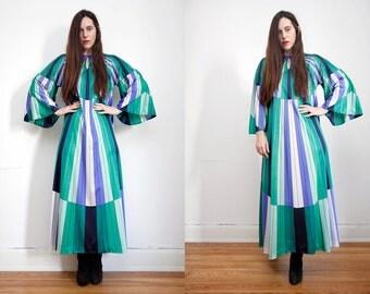 FREE SHIPPING Vintage Stripe Kaftan Kimono Cape Boho Angel Wing Maxi Dress RARE