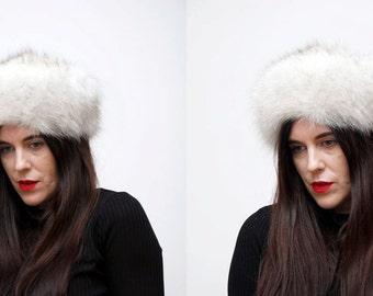Vintage Real White Blue Fox Fur Winter Hat 60's