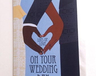 African Wedding Card, Wedding Card Congratulations, Wedding Congratulations, Wedding Day Card, African American Cards, Multicultural Wedding