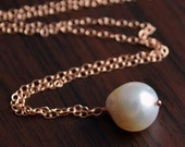 NEW South Sea Pearl Necklace, Rose Gold Filled, Real Pearl, Ivory Pearl Jewelry, Elegant Pendant Necklace, Free Shipping