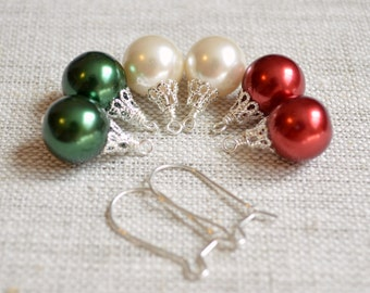 Mix and Match Earrings, Christmas Balls, Holiday Jewelry, Red Green White Glass Pearls, Kidney Earwires, Sterling Silver, Free Shipping