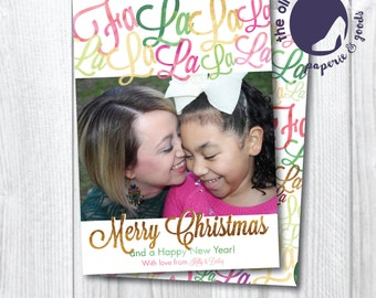 Christmas Card | 20% OFF BEFORE OCTOBER 1st | Fa La La | Custom | Printable or Printed | Pink | Gold | Girls | Holidays | Two Sides