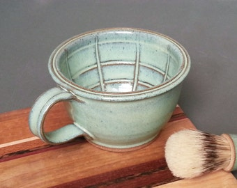 Large Wet Shaving Mug Bowl with Lather Ridges in Green