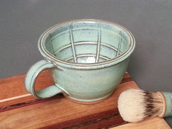 Large Wet Shaving Mug Bowl with Lather Ridges in Green