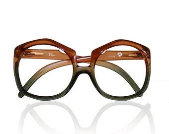 Large Vintage Christian Dior Eyeglasses Frames - Ombre Plastic Designer Eye Glasses Huge Grandma Glasses 70's 60's mod