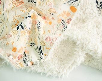 Floral faux fur baby blanket, Wispy Daybreak, toddler blanket