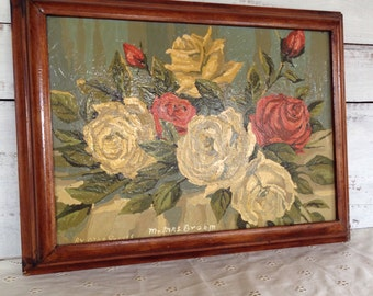 Vintage 1950's Paint By Numbers Shabby Chic Rose Artist Signed Painting