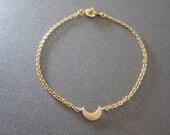 Gold Tiny Crescent Moon Bracelet