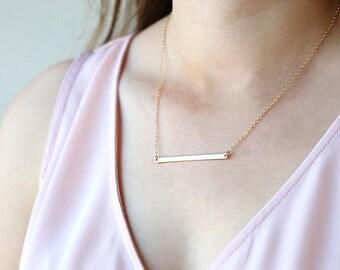 Long Bar Necklace // Sterling Silver, Rose Gold Filled, 14K Gold Filled // Modern Layering Delicate Necklace