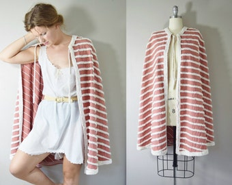 Vintage 1940s Chenille Striped Rose Cotton Beach Cape | Beach Cover-Up | Pink Beach Cape | Rope Neck Tie