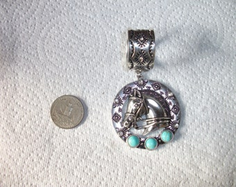 antique silver and turquoise horse pendant