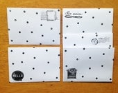 Hand Stamped C6 size ENVELOPES, snail mail envelopes, white envelopes hand stamped, polka dot envelopes, stamped envelopes, set of 5, paper