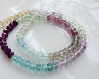 Rainbow fluorite  faceted  rondelle  beads (6x4mm), FULL STRAND (16 inches)