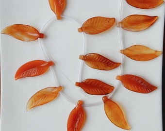 6pcs Carnelian carved leaf beads , leaf charms  (40x15mm)