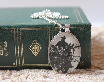 SALE Christmas cowboy pendant | My Antonia | Willa Cather | book pendant | literary jewelry