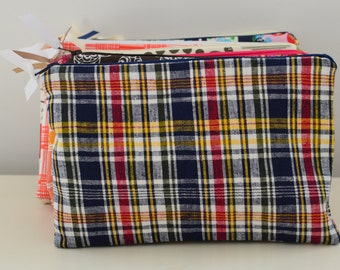 Zipper Pouch in Plaid - cosmetic bag travel case diaper bag organizer medium navy red yellow stripes ipad mini kindle toiletry gift set