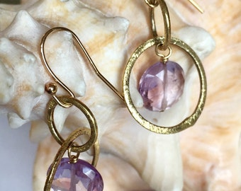 Amethyst Hoop Earrings - Amethyst Earrings