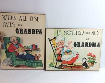 Vintage grandma and grandpa wall plaques