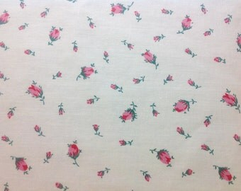 "One Yard Vintage Cotton Pink Rosebud Print 36"" wide"