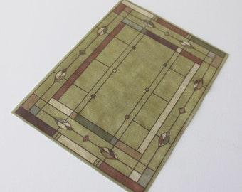 Miniature Rug Rectangular Arts and Crafts Prairie Style Khaki 1:12 Scale