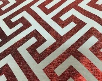 Metallic Red Geometric fabric by the yard