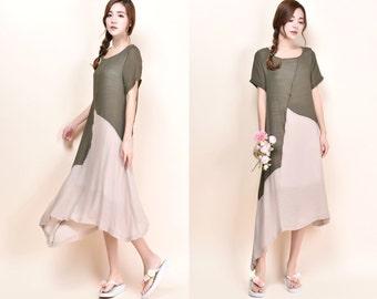 Ginger Lily Patchwork Asymmetrical Silk Linen Blend Dress/ More Color Schemes/ RAMIES