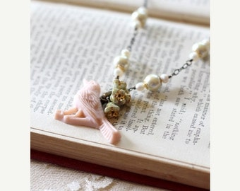 FALL SALE Pale pink bird necklace with ivory pearl and pale green flower bead accents, pastel tones, Nature Tweets