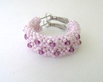 Light pink hoop earrings, beaded earrings, pink earrings, pink jewelry, amethyst beaded crystal hoops |woven beaded pink earrings