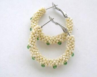 Creamy yellow hoop earrings, beaded earrings, woven yellow beaded hoop earrings, glass beaded jewelry, cream earrings, green, yellow jewelry