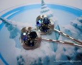 Vintage earrings hair slides - Lisner signed sparkly sapphire royal blue shiny silver leaves embellish jeweled decorative hair accessories