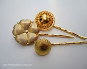 Vintage buttons hair clips - Midas touch bright gold treasures trio embellish hair accessories TREASURY ITEM