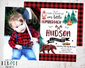 LUMBERJACK BIRTHDAY INVITATION - Lumberjack first birthday party invitation - Buffalo Plaid Invitation - Woodland Camping Bear Invitation