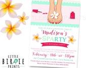 SPA BIRTHDAY PARTY Invitation - Spa Party Invitation - Manicure Pedicure Invitation - Bridal Shower Spa Invitation