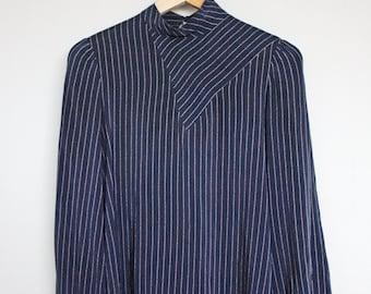 Vintage 1980s Womens Navy Silk Pinstripe Shirt Size S/M