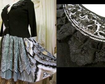 Black Bohemian Sweater, long skirt length sweater, refashioned womens sweater, Medium