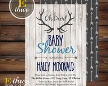 Rustic Baby Boy Shower Invitations - Deer Antler Baby Boy Shower Invitation - Navy, Gray, Light Blue - Rustic Wood, Arrows, Deer #1002