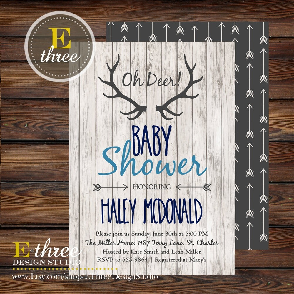 rustic baby boy shower invitations deer antler boy 39 s