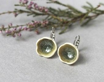 """Porcelain handmade flower earrings """"Spring"""", Handmade lightweight moss earrings, Celadon green earrings, forest moss earrings, gift for her"""
