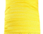 Yellow Fold Over Elastic 5/8 inch FOE - Shiny for Headbands Hair Ties Hairbow Supplies, Etc.