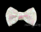 Iridescent White Sequin Bows Small 3 inch - Sequin Bow Headband, Sequin Bow Tie, Sequin Hair Bow, Sequin Hair Bows, Sequin Baby Bows