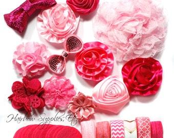 Headband Kit - Light Pink, Coral, Hot Pink, Fuchsia - Sweetie - Baby Shower Station, Baby Headbands, DIY Headbands - Hairbow Supplies, Etc.