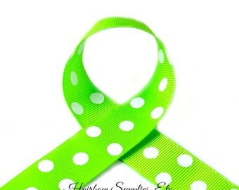 Apple Green 2-1/4 inch Polka Dot Grosgrain Ribbon - Choose 1 or more yards - Hairbow Supplies, Etc.