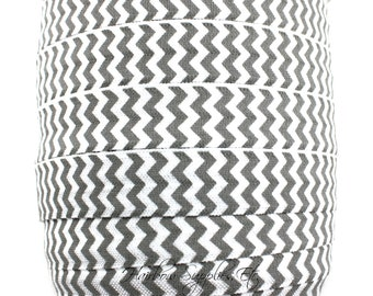 Gray Chevron Printed Fold Over Elastic - Choose 1, 5, or 10 yards - 5/8 inch FOE - Shiny for Headbands Hair Ties Hairbow Supplies, Etc.
