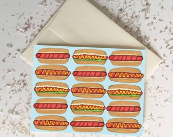 Weenies Hotdog Card Blank Inside // Food Stationary // Chef Gift // Quirky Funny Card // Spring Summer Birthday Gift // Funny