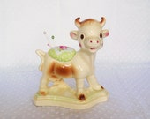 Porcelain Cow Pincushion made from Rempel planter - upcycled recycled repurposed - cute pincushion sewing gift