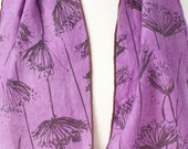 orchid purple and espresso hand painted and  printed linen scarf with Queen Anne's lace in 2 lengths