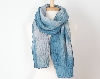 pale blue hand painted wavy silk scarf dyed with indigo