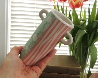 Vase in Pink and Green Polka Dots and Stripes and Little Handles