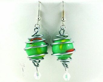 Marble Earrings Upcycled Lime Green with Orange White and Yellow Swirl & Crystal Bead in Handmade Stainless Steel Wire Wrapped Cage