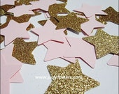 200 Large Pink & Gold, Twinkle Little Star, Party Confetti, Baby Girl Shower, Gold Glitter, First Birthday, Cake Table Decorations